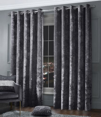Stylish Crushed Velvet Modern Textured Ringtop Eyelet Pair Of Curtains Charcoal Colour
